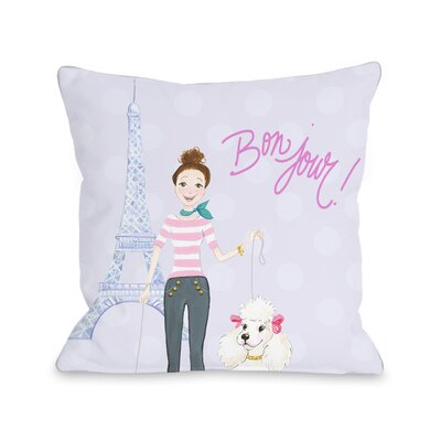 Bonjour Eiffel Tower Poodle Throw Pillow Size: 16 x 16