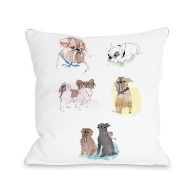 Puppies Sketches Throw Pillow Size: 16 H x 16 W x 3 D