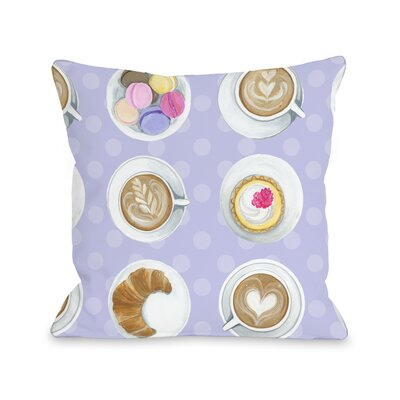 Coffee Cupcake Macaroons Throw Pillow Size: 16 x 16