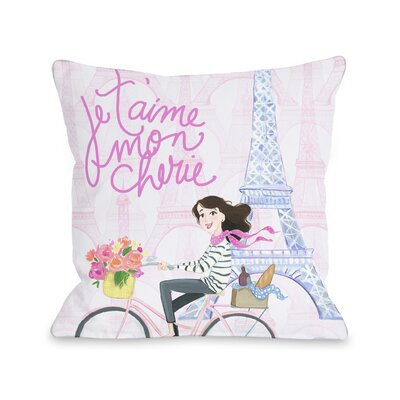 Je Taime Mon Cherie Throw Pillow Size: 16 x 16