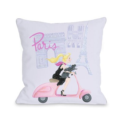 Paris Girl on Moped Throw Pillow Size: 16 x 16