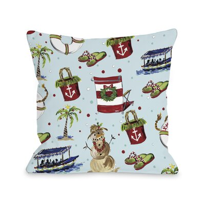 Beach Christmas Throw Pillow Size: 16 x 16