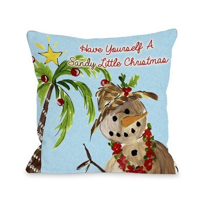 Sandy Little Christmas Throw Pillow Size: 16 H x 16 W x 3 D