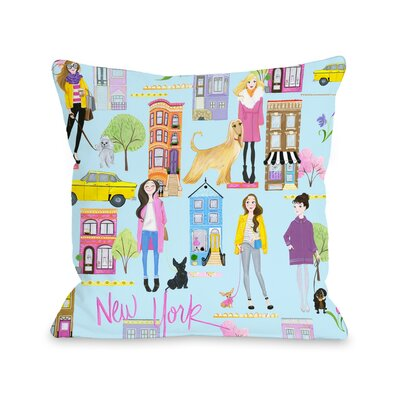 Love from NYC 19 Pattern Throw Pillow Size: 18 x 18