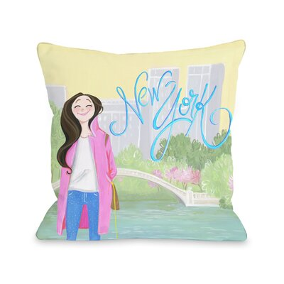 Love from NYC 24 New York Girl Throw Pillow Size: 16