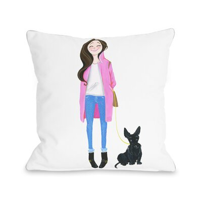 Love from NYC 4 Girl Dog Throw Pillow Size: 18 x 18