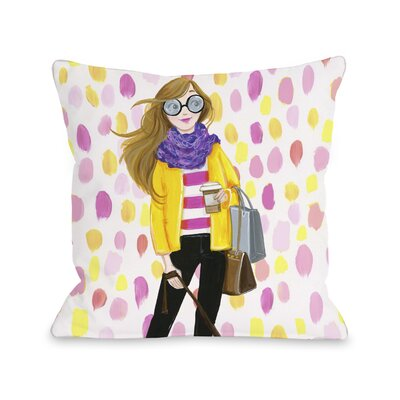 Love from NYC 6 Paintdots Girl Throw Pillow Size: 18 x 18