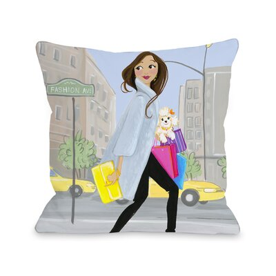 Love from NYC 8 Girl Fashionstreet Throw Pillow Size: 18 x 18