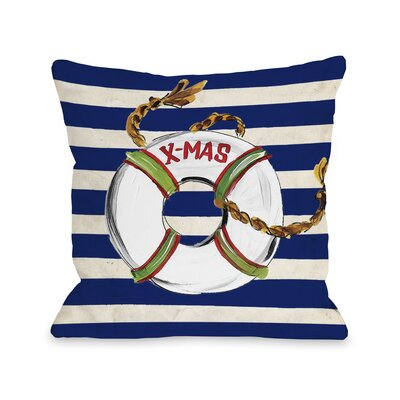 X Mas Lifesaver Stripes Throw Pillow Size: 16