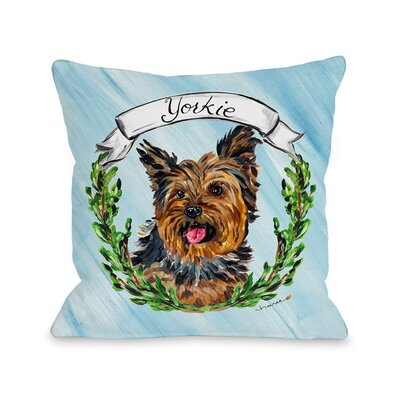 Yorkie Throw Pillow Size: 16 H x 16 W x 3 D