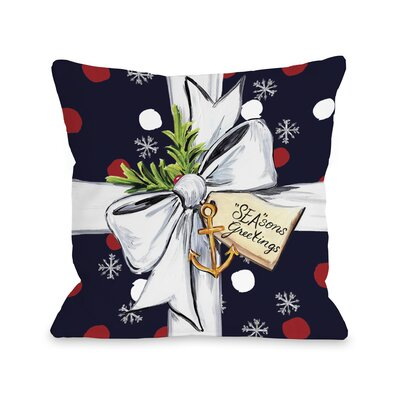 Seasons Greetings Gift Throw Pillow Size: 18 H x 18 W x 3 D