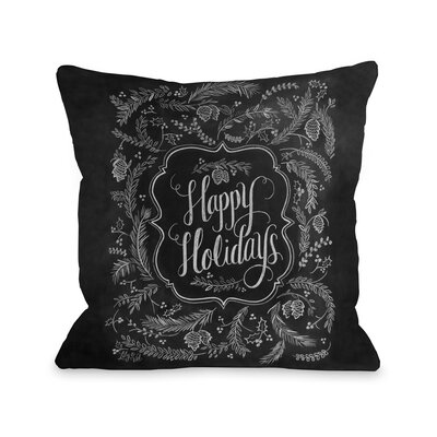 Happy Holidays Pine Throw Pillow