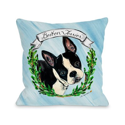 Boston Terrier Throw Pillow Size: 18 H x 18 W x 3 D