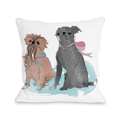 Two Puppies Throw Pillow Size: 16 H x 16 W x 3 D