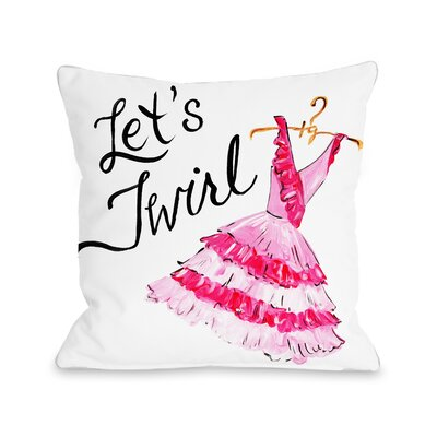 Lets Twirl Dress Stripes Throw Pillow Size: 18 x 18