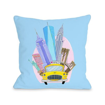 Love from NYC 11 Taxi NYC Landmarks Throw Pillow Size: 16 x 16, Color: Blue
