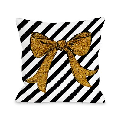 Glitter Bow Glitter Throw Pillow Size: 18 x 18