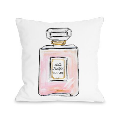 Hello Beautiful Perfume Multiple Throw Pillow Size: 18 x 18