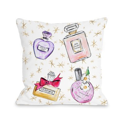 Perfume Bottles Sparkles Throw Pillow Size: 18 x 18