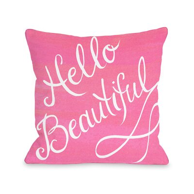 Hello Beautiful Bow Throw Pillow Size: 18 x 18