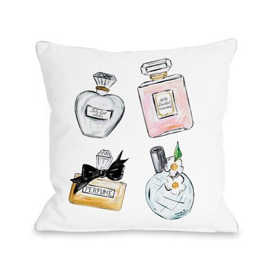 Perfume Bottles Sparkles Throw Pillow Size: 16 x 16