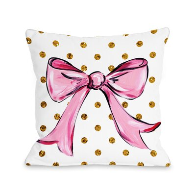 Pink Bow Dots Bows Throw Pillow Size: 16 x 16
