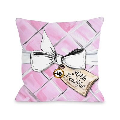 Hello Beautiful Quilted Bow Throw Pillow Size: 18 x 18