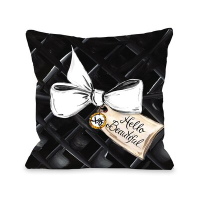 Hello Beautiful Bow Glitter Throw Pillow Size: 16 x 16