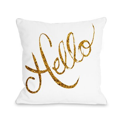 Hello Glittered Stripes Throw Pillow Size: 18 x 18