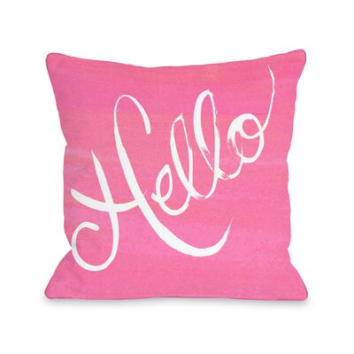Hello Painted Stripes Throw Pillow Size: 18 x 18