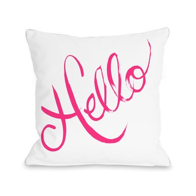 Hello Painted Bows Throw Pillow Size: 18 x 18