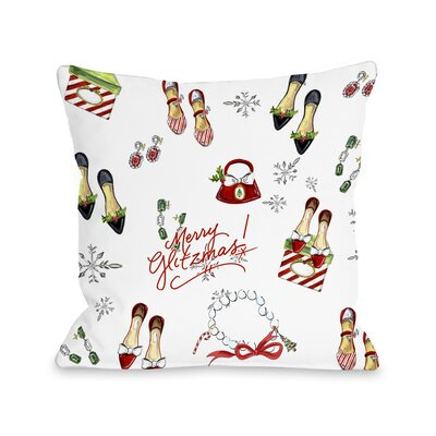 Merry Glitzmas Throw Pillow Size: 18 x 18
