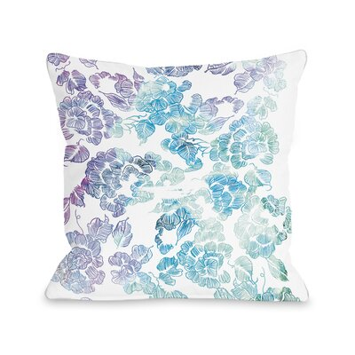 Flower Print Throw Pillow Size: 16