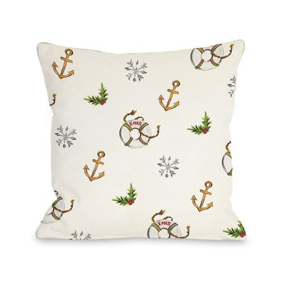 Nautical Xmas Throw Pillow Size: 18 x 18
