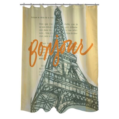 Eiffel Tower Shower Curtain Color: Yellow Multi