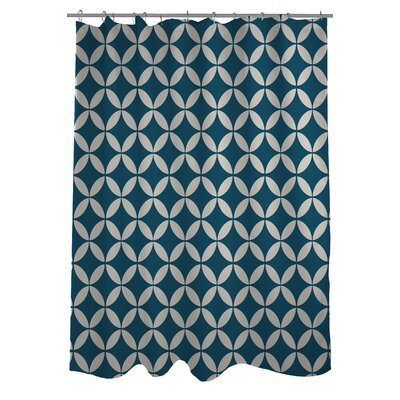 Dahlia Geometric Shower Curtain Color: Blue/Ivory