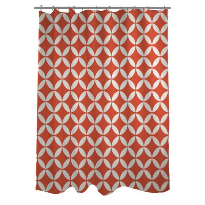 Dahlia Geometric Shower Curtain Color: Lily/Orange