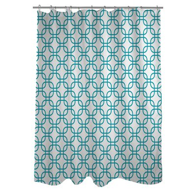 Hisa 1 Geometric Shower Curtain Color: White/Peacock