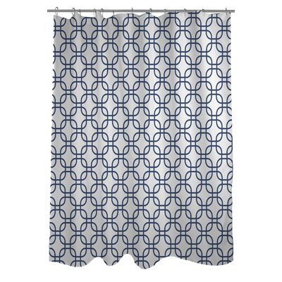 Hisa 1 Geometric Shower Curtain Color: White/Navy