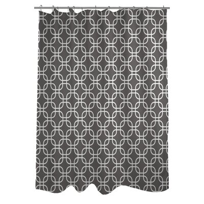 Hisa 2 Geometric Shower Curtain Color: Gray/White