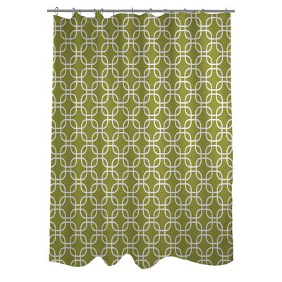 Hisa 2 Geometric Shower Curtain Color: Oasis Green/White