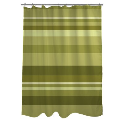 Caroline Stripes Shower Curtain Color: Green