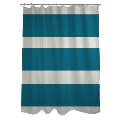 Helen Striped Shower Curtain Color: Blue / Green
