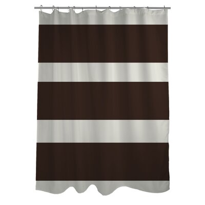 Helen Striped Shower Curtain Color: Chocolate