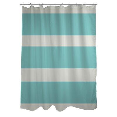 Helen Striped Shower Curtain Color: Aqua