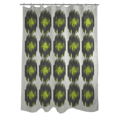 Payton Ikat Dots Shower Curtain Color: Gray/Green