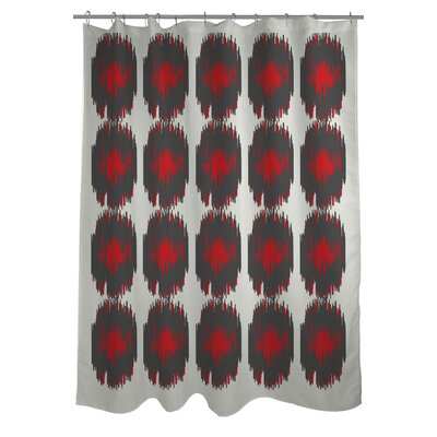 Payton Ikat Dots Shower Curtain Color: Gray/Red