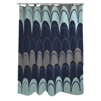 Mila Mountains Shower Curtain Color: Navy/Aqua