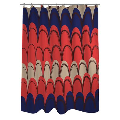 Mila Mountains Shower Curtain Color: Orange/Blue