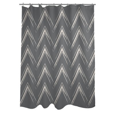 Sabrina Brush Chevron Shower Curtain Color: Gray